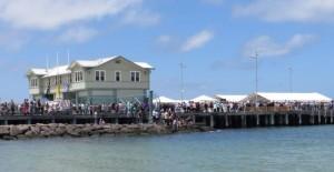 Crowds line the Pier