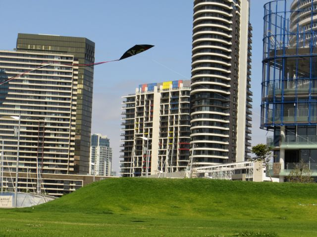 Flying a kite at Docklands