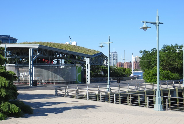 Green roof on the waterfront at Chelsea Piers