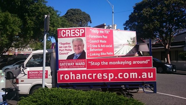 Rohan Cresp used old school methods, mounting billboards on the back of a truck